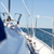 close up of sailboat or sailing yacht deck in sea stock photo © dolgachov