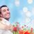 mulher · flores · vermelhas · campo · sorrindo · vestido · branco - foto stock © dolgachov