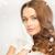 mujer · hermosa · blanco · guantes · Foto · mujer · cara - foto stock © dolgachov