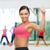 sportos · nő · mutat · bicepsz · fitnessz · tornaterem - stock fotó © dolgachov