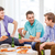 Gruppe · Jugendliche · Sitzung · Couch · Essen · Pizza - stock foto © dolgachov