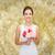 mosolygó · nő · köteg · virágok · kéz · arc · nők - stock fotó © dolgachov