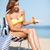 lány · napozás · napozószék · nyár · ünnepek · vakáció - stock fotó © dolgachov
