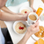 feliz · potável · café · suco · de · laranja · relaxante - foto stock © dolgachov