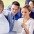 happy couple with tablet pc in travel bus stock photo © dolgachov