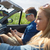 homem · condução · cabriolé · carro - foto stock © dolgachov