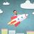 empresário · voador · foguete · acima · desenho · animado · cidade - foto stock © dolgachov