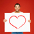 handsome man with big white board and heart on it stock photo © dolgachov