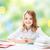 boldog · lány · könyvek · notebook · iskola · oktatás · emberek - stock fotó © dolgachov