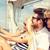 счастливым · друзей · сидят · паруса · лодка · улыбаясь - Сток-фото © dolgachov