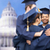 happy students or bachelors hugging stock photo © dolgachov