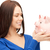 heureux · femme · regarder · tirelire · bancaires · investissement - photo stock © dolgachov