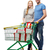 smiling couple with shopping cart and gift boxes stock photo © dolgachov