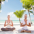 gülen · çift · meditasyon · tropikal · plaj · spor · yoga - stok fotoğraf © dolgachov