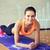 femme · souriante · planche · gymnase · fitness · sport · formation - photo stock © dolgachov