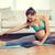 terhes · nő · nyújtás · láb · testmozgás · otthon · fitnessz - stock fotó © dolgachov
