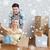 couple · carton · cases · nouvelle · maison · maison - photo stock © dolgachov
