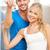 heureux · couple · touches · lumineuses · photos · femme - photo stock © dolgachov