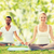 glimlachend · paar · yoga · buitenshuis · sport - stockfoto © dolgachov