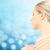 bela · mulher · mar · pérola · colar · azul · beleza - foto stock © dolgachov