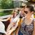 grup · gülen · arkadaşlar · tur · otobüs - stok fotoğraf © dolgachov