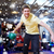 szczęśliwy · młody · człowiek · piłka · bowling · klub - zdjęcia stock © dolgachov