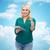 mutlu · kadın · bulutlar · gülen · siyah · kadın - stok fotoğraf © dolgachov