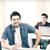 kolegium · chłopca · laptop · spaceru · uśmiechnięty - zdjęcia stock © dolgachov