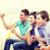 trzy · znajomych · salon · oglądanie · telewizji · uśmiechnięty · człowiek - zdjęcia stock © dolgachov