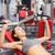 mooie · atletisch · vrouw · bank · druk · glimlachend - stockfoto © dolgachov