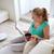 mulher · leitura · revista · sala · de · estar · casa · quarto - foto stock © dolgachov
