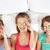 glücklich · junge · Frauen · Bett · home · Party · Freundschaft - stock foto © dolgachov