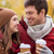 happy couple with coffee walking in autumn park stock photo © dolgachov