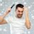 gelukkig · man · haren · kam · sneeuw · schoonheid - stockfoto © dolgachov