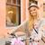 bastante · menina · seis · equitação · bicicleta · rua - foto stock © dolgachov
