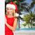 christmas · strand · vrouw · hoed · vakantie - stockfoto © dolgachov