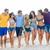 grupo · feliz · amigos · caminando · playa · verano - foto stock © dolgachov
