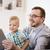 apa · fia · táblagép · játszik · otthon · család · gyermekkor - stock fotó © dolgachov