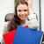 jeunes · femme · d'affaires · dossiers · séance · président · photos - photo stock © dolgachov