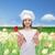 mosolyog · lány · szakács · kalap · merőkanál · habaró - stock fotó © dolgachov