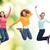 sorridente · mulheres · jovens · saltando · ar · felicidade · liberdade - foto stock © dolgachov