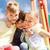kleine · groep · meisjes · stand · rij · handen · glimlach - stockfoto © dolgachov