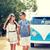 sorridente · jovem · hippie · casal · carro - foto stock © dolgachov