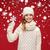 czerwony · hat · szalik · zimą · christmas - zdjęcia stock © dolgachov