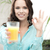 mulher · vidro · suco · de · laranja · polegar - foto stock © dolgachov