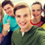 five smiling students taking selfie at school stock photo © dolgachov