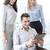 üzleti · csapat · szórakozás · táblagép · iroda · boldog · megbeszélés - stock fotó © dolgachov