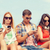 group of friends with smartphones outdoors stock photo © dolgachov