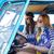 mosolyog · fiatal · hippi · nők · vezetés · mikrobusz - stock fotó © dolgachov