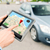 close up of hands with gps on tablet pc and car foto stock © dolgachov